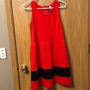 Red and black sleeveless striped dress